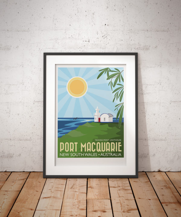 A photo of a framed copy of my modern travel poster of Port Macquarie, a coastal town in New South Wales, Australia, on the Tasman Sea, about 242 miles North of Sydney.