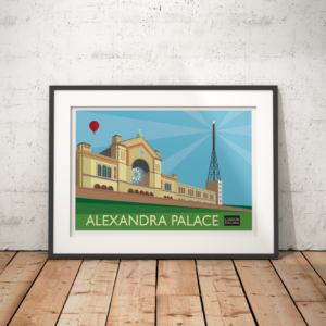 A photo of a framed copy of my modern travel poster of Alexandra Palace, the Grade II listed-building between Muswell Hill and Wood green in North London.