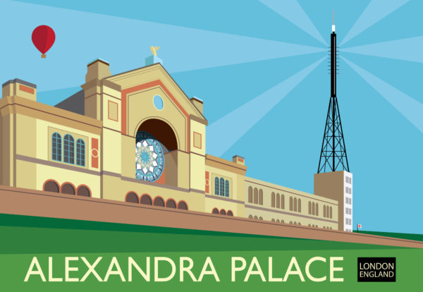 A close-up of my modern travel poster of Alexandra Palace, the Grade II listed-building between Muswell Hill and Wood green in North London.