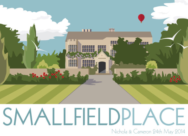 A close-up of my modern travel poster of Smallfield Place a beautiful Grade II listed Jacobean Manor House in Surrey, England.