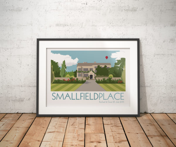 A photo of a framed copy of my modern travel poster of Smallfield Place a beautiful Grade II listed Jacobean Manor House in Surrey, England.