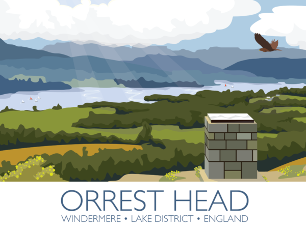 A close-up of my modern travel poster of the view of Lake Windermere from Orrest Head in the Lake District, Cumbria.