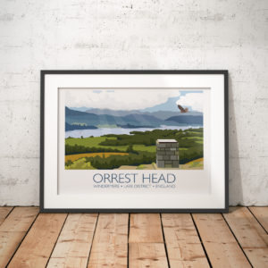 A photo of a framed copy of my modern travel poster of the view of Lake Windermere from Orrest Head in the Lake District, Cumbria.