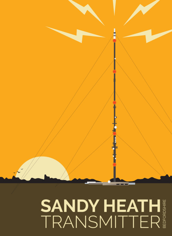 A close-up of my modern travel poster of Sandy Heath transmitting station, a television broadcast station located between the towns of Sandy and Potton, Bedfordshire.
