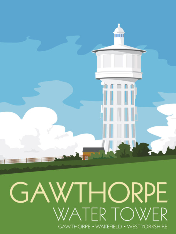 A close-up of my modern travel poster of Gawthorpe Water Tower, located at the highest point of the Ossett and Gawthorpe in Wakefield, West Yorkshire. The concrete structure built between 1922 and 1928 stores drinking water for the Ossett area the tower is 55m tall.
