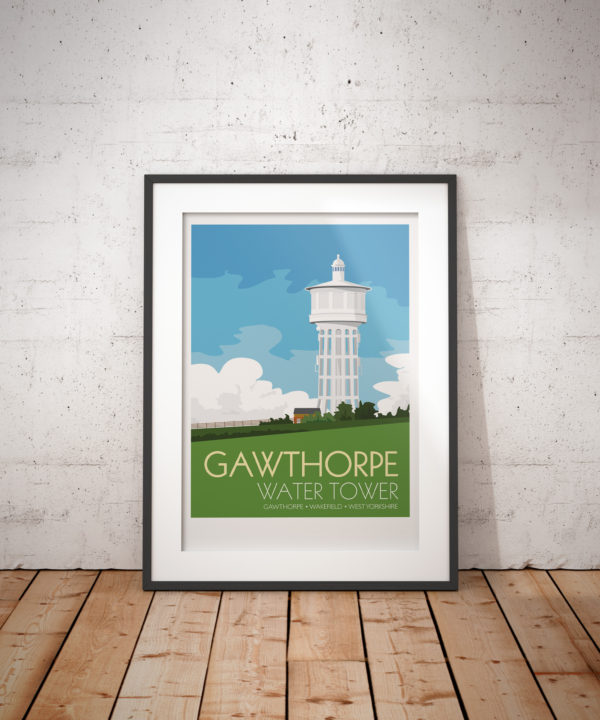 A photo of a framed copy of my modern travel poster of Gawthorpe Water Tower, located at the highest point of the Ossett and Gawthorpe in Wakefield, West Yorkshire. The concrete structure built between 1922 and 1928 stores drinking water for the Ossett area the tower is 55m tall.