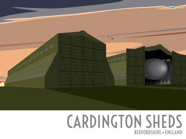 A close-up of my modern travel poster of the airship sheds at Cardington Airfield, a former Royal Air Force station in Bedfordshire, England.