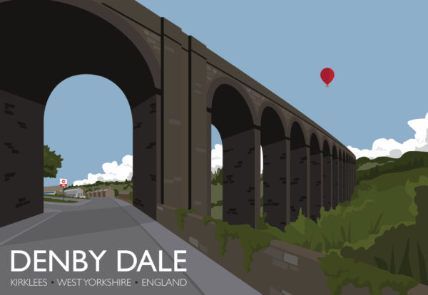 A close-up of my modern travel poster of the Penistone Viaduct, a is curved railway viaduct carrying the the Penistone Line over Wakefield Road, Barnsley Road, and the River Dearne, in the village of Denby Dale.