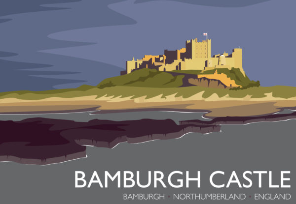 A close-up of my modern travel poster of Bamburgh Castle, a Grade I listed castle on the northeast coast of England.