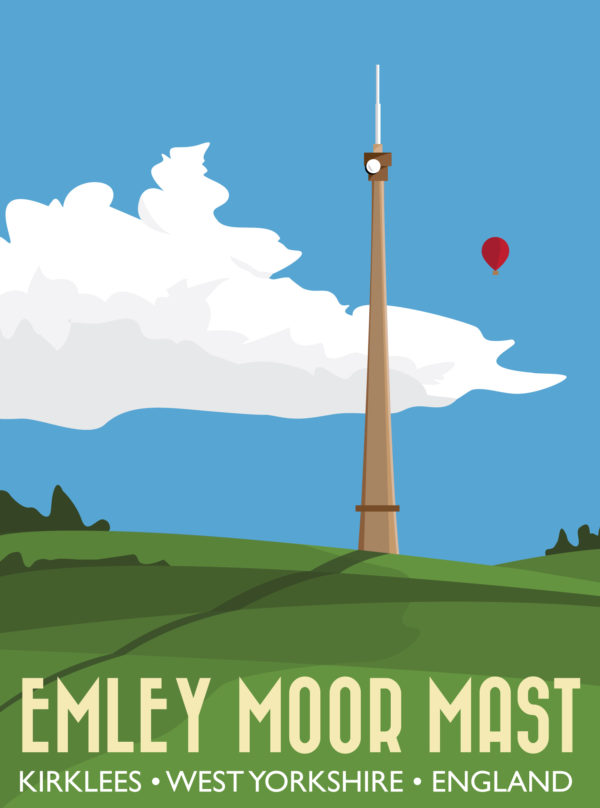 A photo of a framed copy of my modern travel poster of Emley Moor transmitting station on Emley Moor, west of the village centre of Emley in West Yorkshire, England. The grade II listed building is the tallest freestanding structure in the United Kingdom.