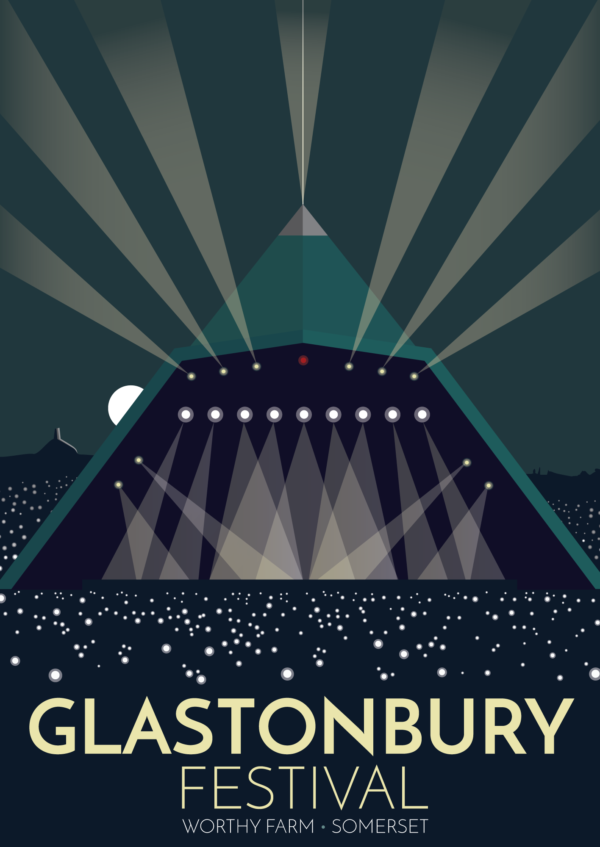 A close-up of my modern travel poster of the world famous Glastonbury Festival, a five-day festival of contemporary performing arts that takes place near Pilton, Somerset, England.