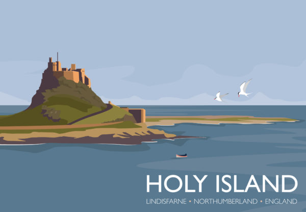 A photo of a framed copy of my modern travel poster of the Holy Island of Lindisfarne, known simply as Holy Island, is a tidal island off the northeast coast of England, with a recorded history from the 6th century AD.
