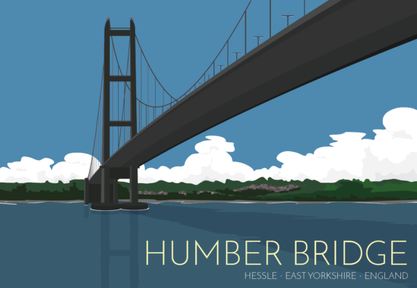 A close-up of my modern travel poster of the Humber Bridge, near Kingston upon Hull, East Riding of Yorkshire, England, a 2. 22-kilometre single-span road suspension bridge, which opened to traffic on 24 June 1981.