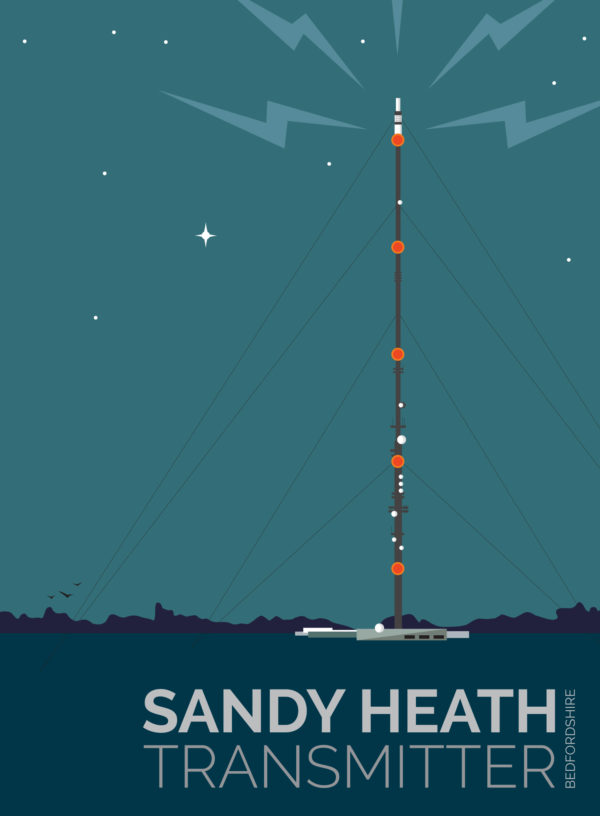 A close-up of my modern travel poster of a moonlit Sandy Heath transmitting station, a television broadcast station located between the towns of Sandy and Potton, Bedfordshire.