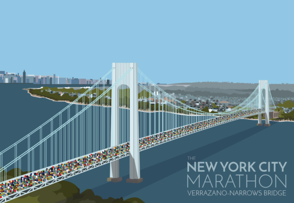 A close-up of my modern travel poster of the New York marathon crossing the Verrazano-Narrows bridge in New York City, USA.
