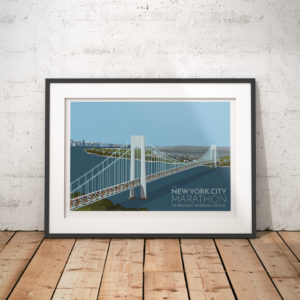 A photo of a framed copy of my modern travel poster of the New York marathon crossing the Verrazano-Narrows bridge in New York City, USA.