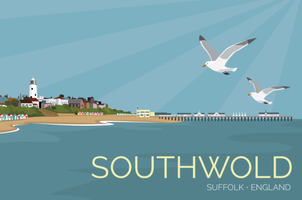 A close-up of my modern travel poster of Southwold is a small town the English North Sea coast of Suffolk, England.