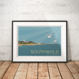 A photo of a framed copy of my modern travel poster of Southwold is a small town the English North Sea coast of Suffolk, England.