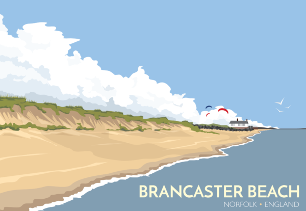 A close-up of my modern travel poster of beautiful Brancaster Beach on the north coast of the English county of Norfolk.