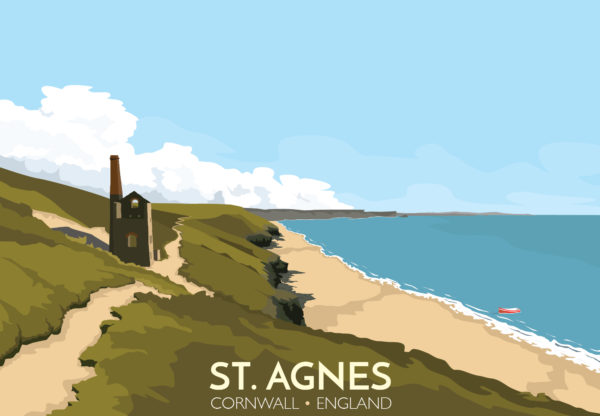 A close-up of my modern travel poster of the ruined Wheal Coates tin mine, near St Agnes on the North Cornwall coast.