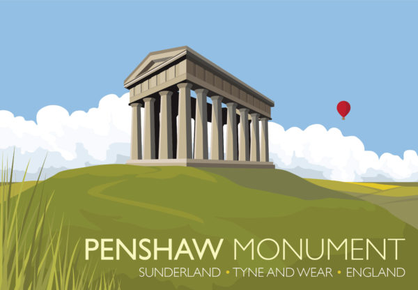 A close-up of my modern travel poster of the Penshaw Monument (officially The Earl of Durham's Monument), built in 1844 on Penshaw Hill near Sunderland, North East England.
