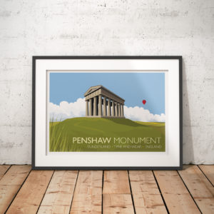 A photo of a framed copy of my modern travel poster of the Penshaw Monument (officially The Earl of Durham's Monument), built in 1844 on Penshaw Hill near Sunderland, North East England.