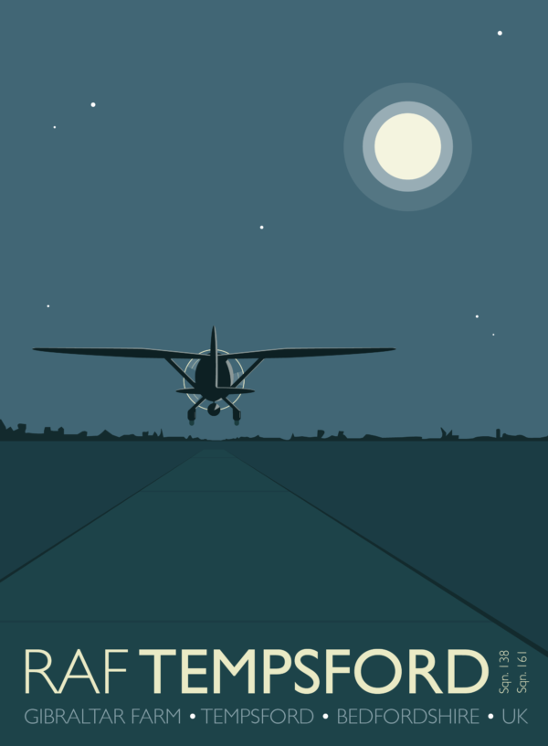 A close-up of my modern travel poster of a Westland Lysander taking off by moonlight from RAF Tempsford, Bedfordshire.