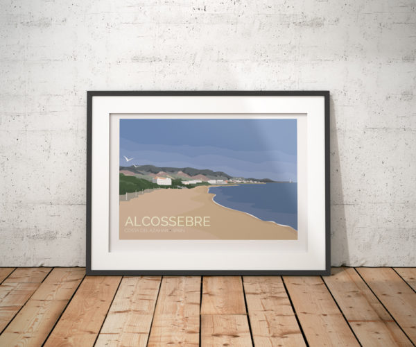 A photo of a framed copy of my modern travel poster of Alcossebre, a seaside village on the Costa del Azahar along the eastern Mediterranean coast of Spain.