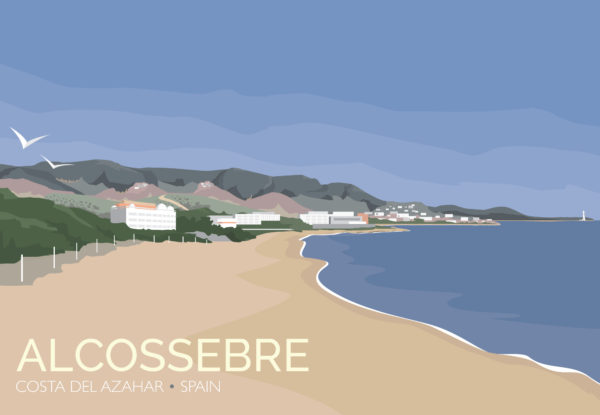 A close-up of my modern travel poster of Alcossebre, a seaside village on the Costa del Azahar along the eastern Mediterranean coast of Spain.