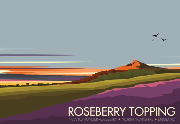 A close-up of my modern travel poster of Roseberry Topping, a distinctive hill in North Yorkshire, England. It is situated near Great Ayton and Newton under Roseberry. Its summit has a distinctive half-cone shape with a jagged cliff.