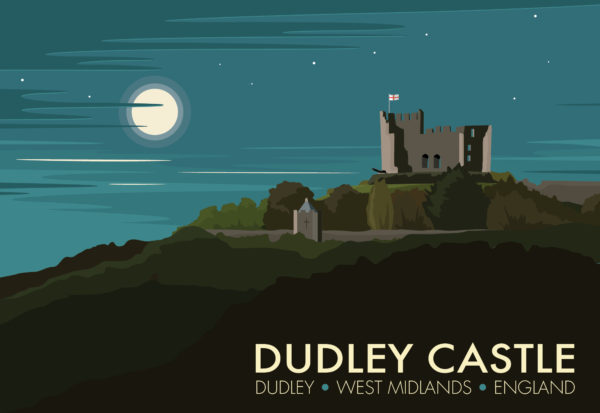 A close-up of my modern travel poster of Dudley Castle, a ruined Norman fortification in the town of Dudley, West Midlands, England.
