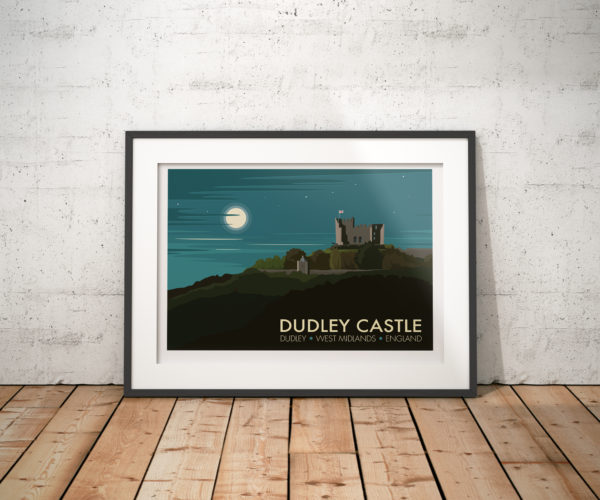 A photo of a framed copy of my modern travel poster of Dudley Castle, a ruined Norman fortification in the town of Dudley, West Midlands, England.