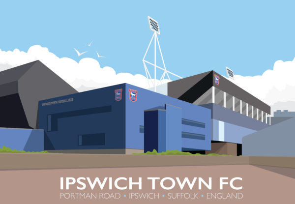 A close-up of my modern travel poster of Portman Road football ground, Ipswich, Suffolk, the home of Ipswich Town FC since 1884.