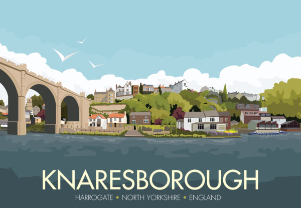 A close-up of my modern travel poster of Knaresborough, a market and spa town near Harrogate, North Yorkshire, England.