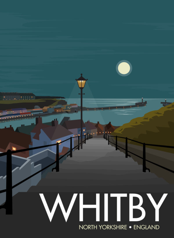 A photo of a framed copy of my modern travel poster of a moonlight view of Whitby harbour, on the North East coast of England.