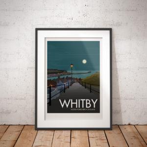 Whitby Travel Poster Framed