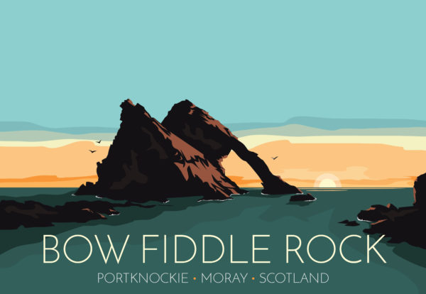 A close-up of my modern travel poster of Bow Fiddle Rock, a natural sea arch near Portknockie on the north-eastern coast of Scotland.