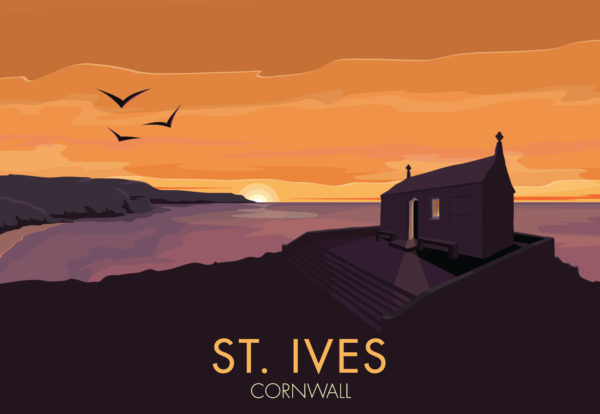 A close-up of my modern travel poster of the sun setting over St Nicholas Chapel in St Ives, Cornwall.