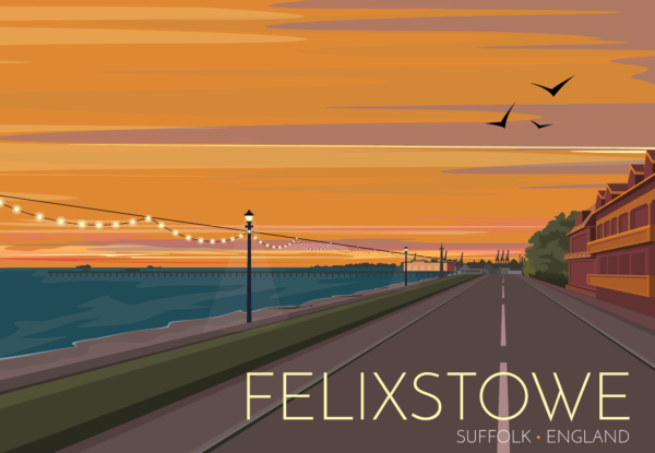 A close-up of my modern travel poster of the sun setting over the town of Felixstowe with the cranes of the container port and tankers on the horizon.