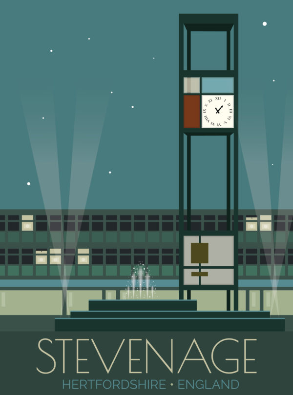A close-up of my modern travel poster of the clock tower and fountains in the town square in Stevenage, Hertfordshire.