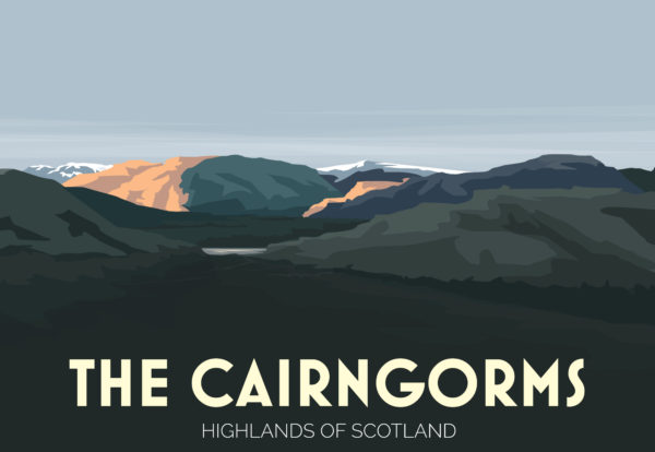 A close-up of my modern travel poster of The Cairngorms, a mountain range and national park in the eastern Highlands of Scotland.