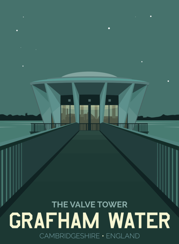 A close-up of my modern travel poster of the valve tower at Grafham Water reservoir, Southwest of Huntingdon in Cambridgeshire. Like the lair of a James Bond villain, it looks awesome in the moonlight.