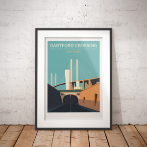 A photo of a framed copy of my modern travel poster of the Dartford Crossing, Queen Elizabeth II bridge and tunnels, crossing the River Thames in England, between Dartford in Kent to the south and Thurrock in Essex to the north.