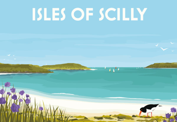 A close-up of my modern travel poster of a lone Oystercatcher and purple agapanthus, in a beautiful bay in the Isles of Scilly.