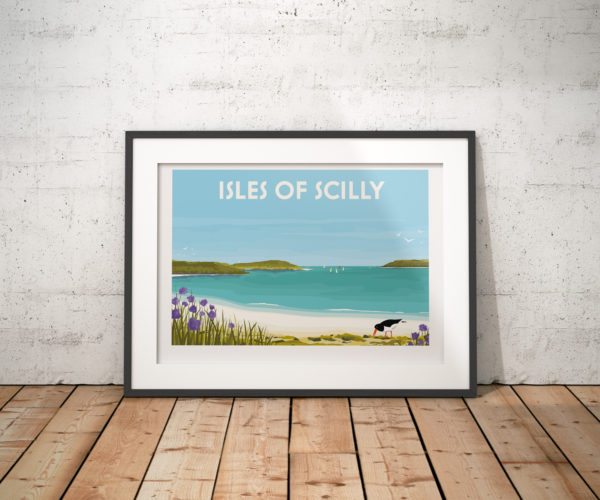 A photo of a framed copy of my modern travel poster of a lone Oystercatcher and purple agapanthus, in a beautiful bay in the Isles of Scilly.
