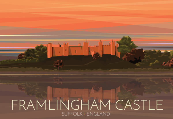 "A close-up of my modern travel poster of the sun setting over the beautiful Framlingham Castle in Suffolk, England, that inspired Ed Sheeran's ""Castle on the Hill""."