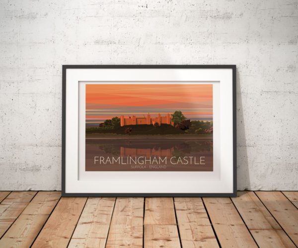 "A photo of a framed copy of my modern travel poster of the sun setting over the beautiful Framlingham Castle in Suffolk, England, that inspired Ed Sheeran's ""Castle on the Hill""."