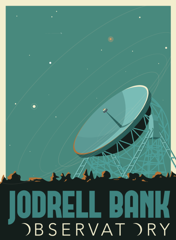 A close-up of my modern travel poster of the Jodrell Bank Observatory, part of the Jodrell Bank Centre for Astrophysics at the University of Manchester. It's home to a number of radio telescopes, including the Lovell Telescope, which is the third largest steerable radio telescope in the world.
