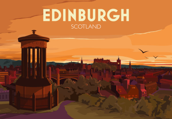 A close-up of my modern travel poster of the glorious Edinburgh skyline at sunset. This is the view looking down from Calton Hill, with the castle, numerous church spires, Waverley Bridge and the station in the distance.