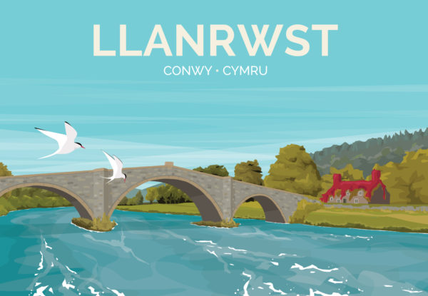 A close-up of my modern travel poster of Llanrwst, a small market town on the River Conwy, near Conwy, Wales.